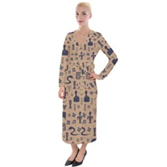 Vintage Tribal Seamless Pattern With Ethnic Motifs Velvet Maxi Wrap Dress