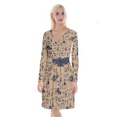 Vintage Tribal Seamless Pattern With Ethnic Motifs Long Sleeve Velvet Front Wrap Dress