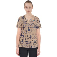 Vintage Tribal Seamless Pattern With Ethnic Motifs Women s V-Neck Scrub Top