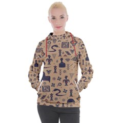 Vintage Tribal Seamless Pattern With Ethnic Motifs Women s Hooded Pullover