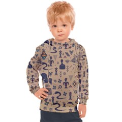 Vintage Tribal Seamless Pattern With Ethnic Motifs Kids  Hooded Pullover