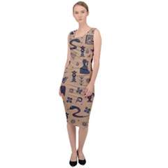 Vintage Tribal Seamless Pattern With Ethnic Motifs Sleeveless Pencil Dress