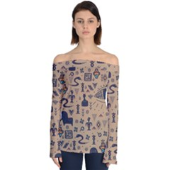 Vintage Tribal Seamless Pattern With Ethnic Motifs Off Shoulder Long Sleeve Top