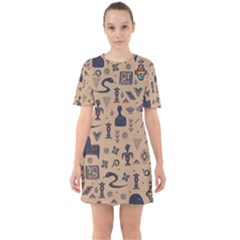 Vintage Tribal Seamless Pattern With Ethnic Motifs Sixties Short Sleeve Mini Dress