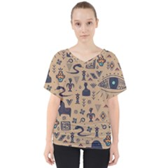 Vintage Tribal Seamless Pattern With Ethnic Motifs V-Neck Dolman Drape Top
