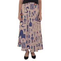 Vintage Tribal Seamless Pattern With Ethnic Motifs Flared Maxi Skirt