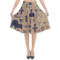 Vintage Tribal Seamless Pattern With Ethnic Motifs Flared Midi Skirt