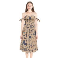 Vintage Tribal Seamless Pattern With Ethnic Motifs Shoulder Tie Bardot Midi Dress