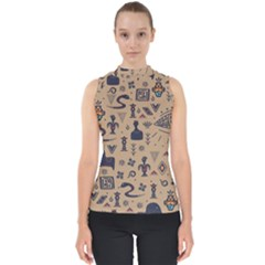 Vintage Tribal Seamless Pattern With Ethnic Motifs Mock Neck Shell Top