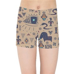 Vintage Tribal Seamless Pattern With Ethnic Motifs Kids  Sports Shorts