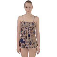 Vintage Tribal Seamless Pattern With Ethnic Motifs Babydoll Tankini Set