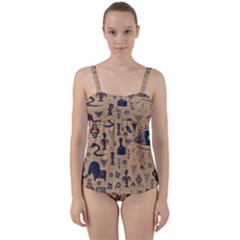 Vintage Tribal Seamless Pattern With Ethnic Motifs Twist Front Tankini Set
