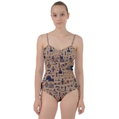 Vintage Tribal Seamless Pattern With Ethnic Motifs Sweetheart Tankini Set