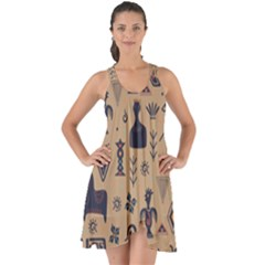 Vintage Tribal Seamless Pattern With Ethnic Motifs Show Some Back Chiffon Dress
