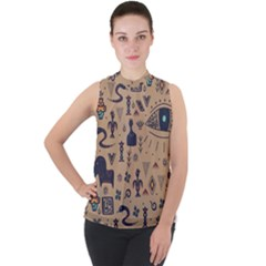 Vintage Tribal Seamless Pattern With Ethnic Motifs Mock Neck Chiffon Sleeveless Top