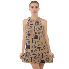Vintage Tribal Seamless Pattern With Ethnic Motifs Halter Tie Back Chiffon Dress