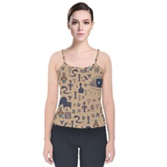 Vintage Tribal Seamless Pattern With Ethnic Motifs Velvet Spaghetti Strap Top