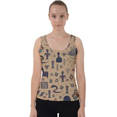 Vintage Tribal Seamless Pattern With Ethnic Motifs Velvet Tank Top