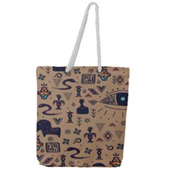 Vintage Tribal Seamless Pattern With Ethnic Motifs Full Print Rope Handle Tote (Large)