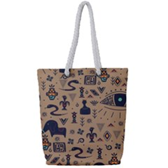 Vintage Tribal Seamless Pattern With Ethnic Motifs Full Print Rope Handle Tote (Small)