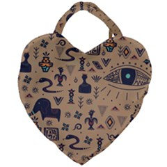 Vintage Tribal Seamless Pattern With Ethnic Motifs Giant Heart Shaped Tote