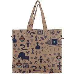 Vintage Tribal Seamless Pattern With Ethnic Motifs Canvas Travel Bag