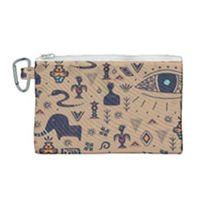 Vintage Tribal Seamless Pattern With Ethnic Motifs Canvas Cosmetic Bag (Medium)