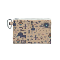 Vintage Tribal Seamless Pattern With Ethnic Motifs Canvas Cosmetic Bag (Small)