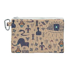 Vintage Tribal Seamless Pattern With Ethnic Motifs Canvas Cosmetic Bag (Large)