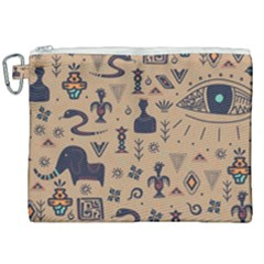 Vintage Tribal Seamless Pattern With Ethnic Motifs Canvas Cosmetic Bag (XXL)