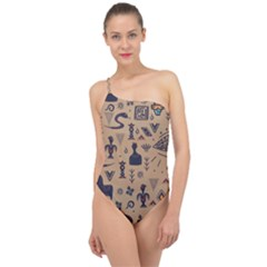 Vintage Tribal Seamless Pattern With Ethnic Motifs Classic One Shoulder Swimsuit