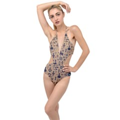 Vintage Tribal Seamless Pattern With Ethnic Motifs Plunging Cut Out Swimsuit