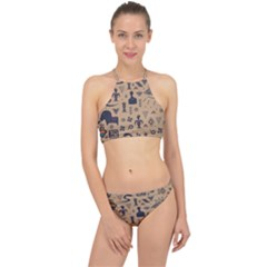 Vintage Tribal Seamless Pattern With Ethnic Motifs Racer Front Bikini Set
