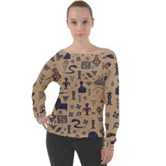 Vintage Tribal Seamless Pattern With Ethnic Motifs Off Shoulder Long Sleeve Velour Top