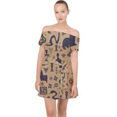 Vintage Tribal Seamless Pattern With Ethnic Motifs Off Shoulder Chiffon Dress