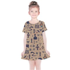 Vintage Tribal Seamless Pattern With Ethnic Motifs Kids  Simple Cotton Dress