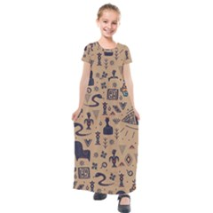 Vintage Tribal Seamless Pattern With Ethnic Motifs Kids  Short Sleeve Maxi Dress