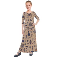 Vintage Tribal Seamless Pattern With Ethnic Motifs Kids  Quarter Sleeve Maxi Dress