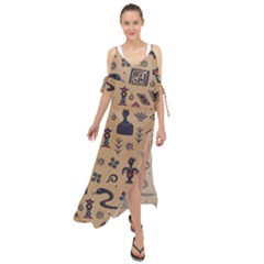 Vintage Tribal Seamless Pattern With Ethnic Motifs Maxi Chiffon Cover Up Dress