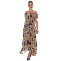 Vintage Tribal Seamless Pattern With Ethnic Motifs Off Shoulder Open Front Chiffon Dress