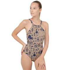 Vintage Tribal Seamless Pattern With Ethnic Motifs High Neck One Piece Swimsuit