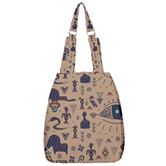 Vintage Tribal Seamless Pattern With Ethnic Motifs Center Zip Backpack