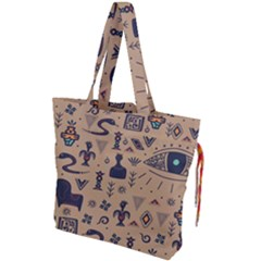Vintage Tribal Seamless Pattern With Ethnic Motifs Drawstring Tote Bag