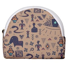 Vintage Tribal Seamless Pattern With Ethnic Motifs Horseshoe Style Canvas Pouch