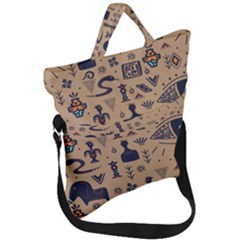 Vintage Tribal Seamless Pattern With Ethnic Motifs Fold Over Handle Tote Bag
