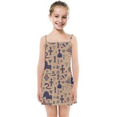 Vintage Tribal Seamless Pattern With Ethnic Motifs Kids  Summer Sun Dress