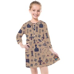 Vintage Tribal Seamless Pattern With Ethnic Motifs Kids  Quarter Sleeve Shirt Dress
