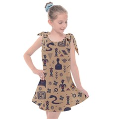 Vintage Tribal Seamless Pattern With Ethnic Motifs Kids  Tie Up Tunic Dress