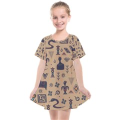 Vintage Tribal Seamless Pattern With Ethnic Motifs Kids  Smock Dress
