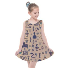 Vintage Tribal Seamless Pattern With Ethnic Motifs Kids  Summer Dress